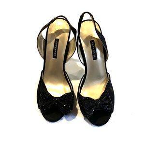 Caparros black sling back peep toe heel 8.5
